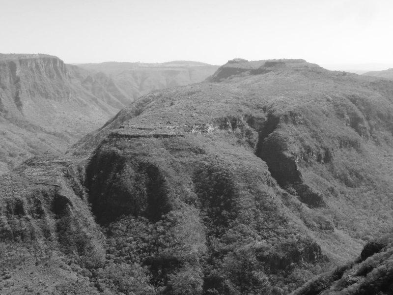 Black and white panoramic view of Barranca de Huentitan canyon in Guadalajara