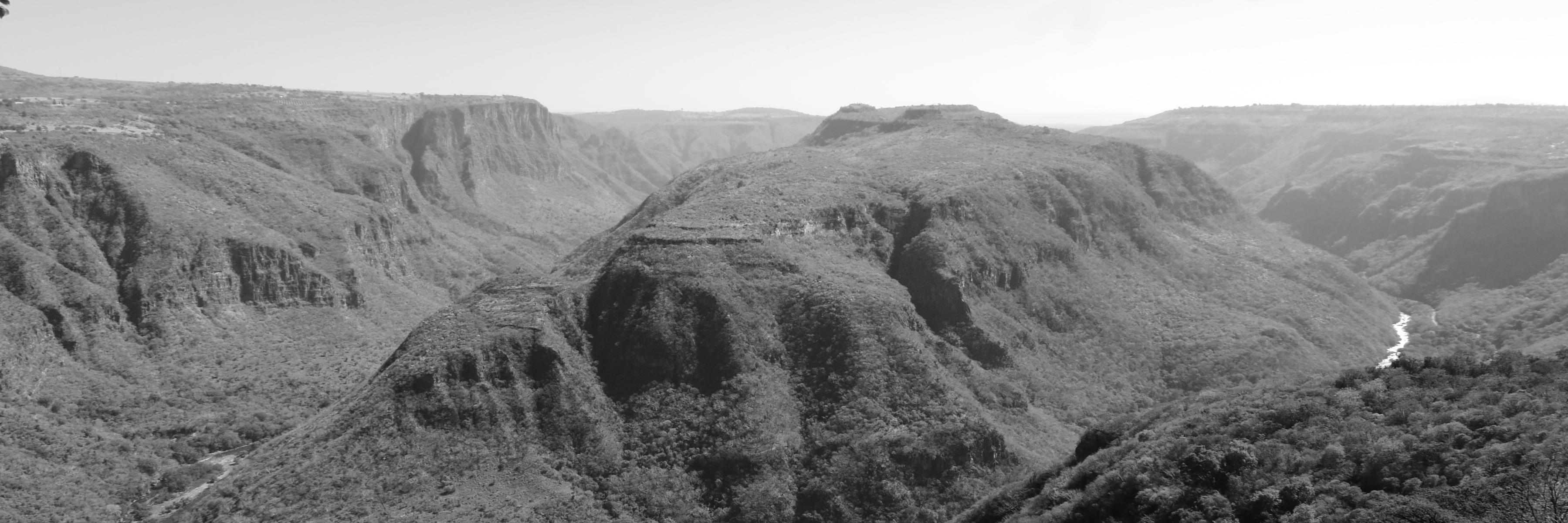 Black and white panoramic view of Barranca de Huentitan canyon in Guadalajara