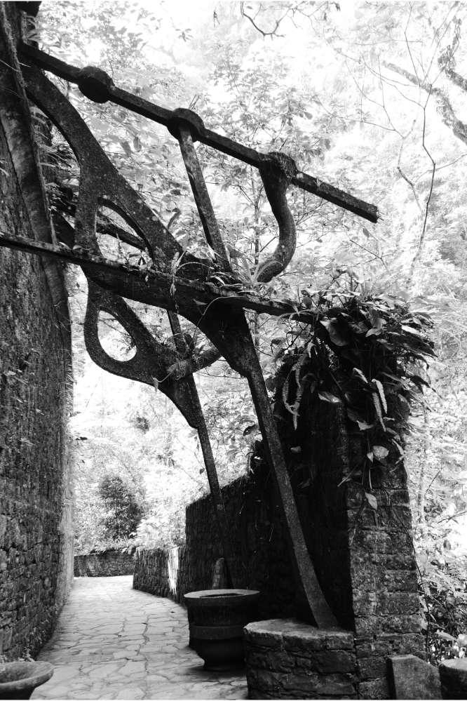 Overhanging walkway in Las Pozas surrealist garden in Xilitla