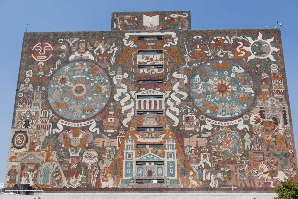 Central library of the UNAM university in Mexico City