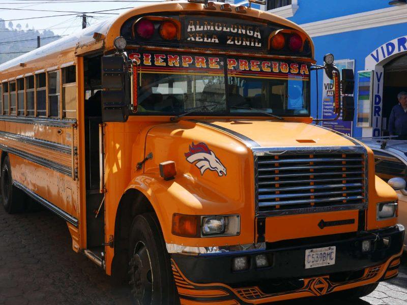 Chicken bus in Xela, Guatemala