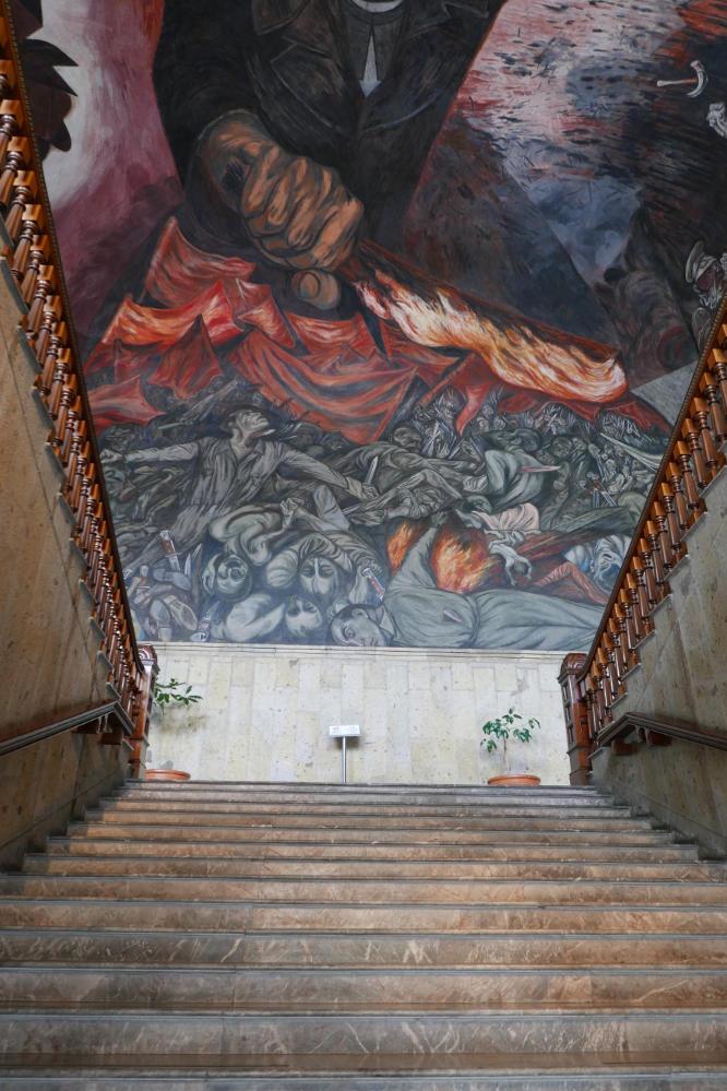 Lucha Social mural by Orozco, above main staircase of Palacio Gobierno in Guadalajara