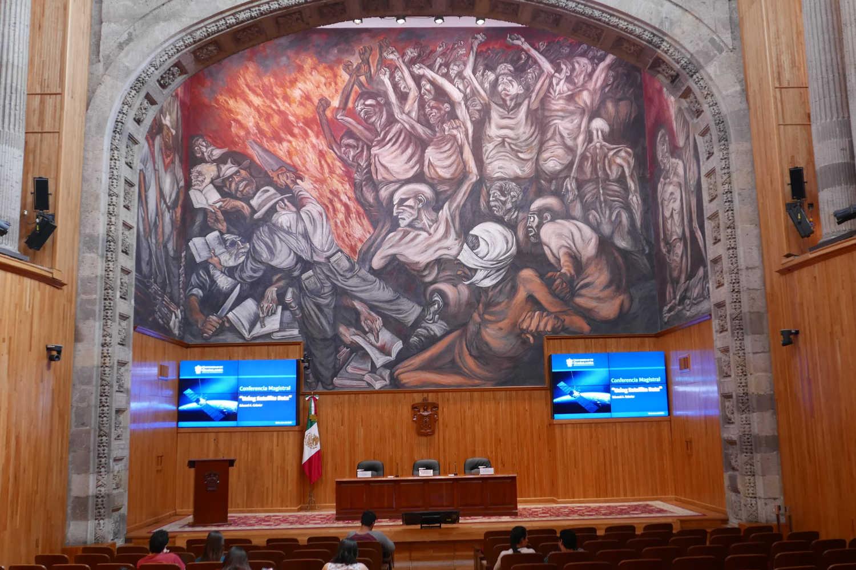 El Pueblo y sus falsos Lideres mural by Orozco in the MUSA in Guadalajara