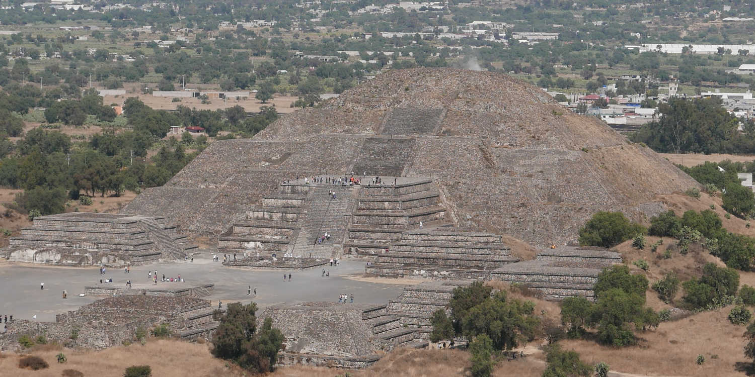 Panorama picture of Pyramid of the Moon in Teotihuacan