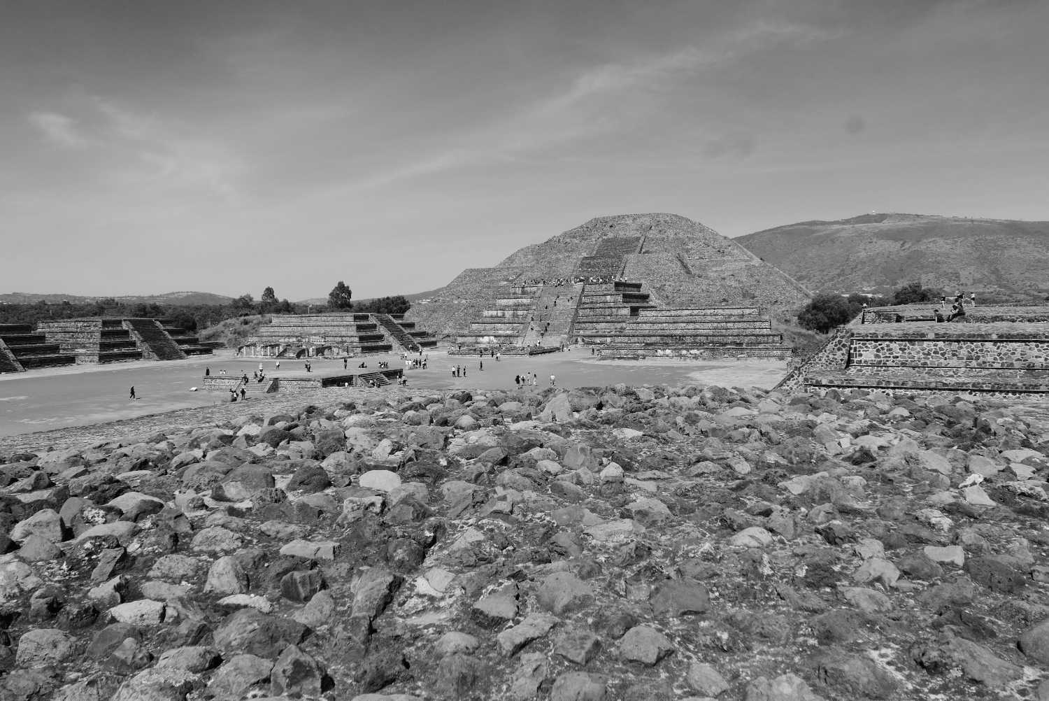 Overview of square in front of Pyramid of the Moon in Teotihuacan
