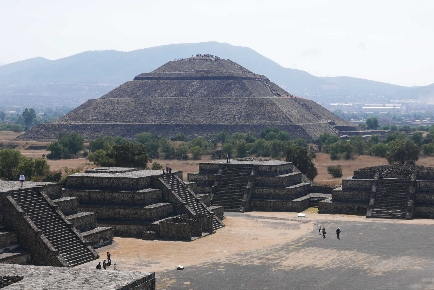 Panorama picture of Pyramid of the Sun in Teotihuacan