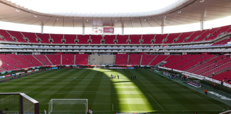 Chivas Stadium in Guadalajara, behind the goal