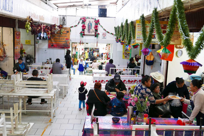Food court in San Miguel de Allende central market
