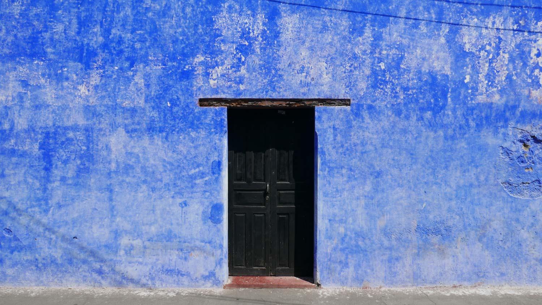 Blue house in Antigua Guatemala