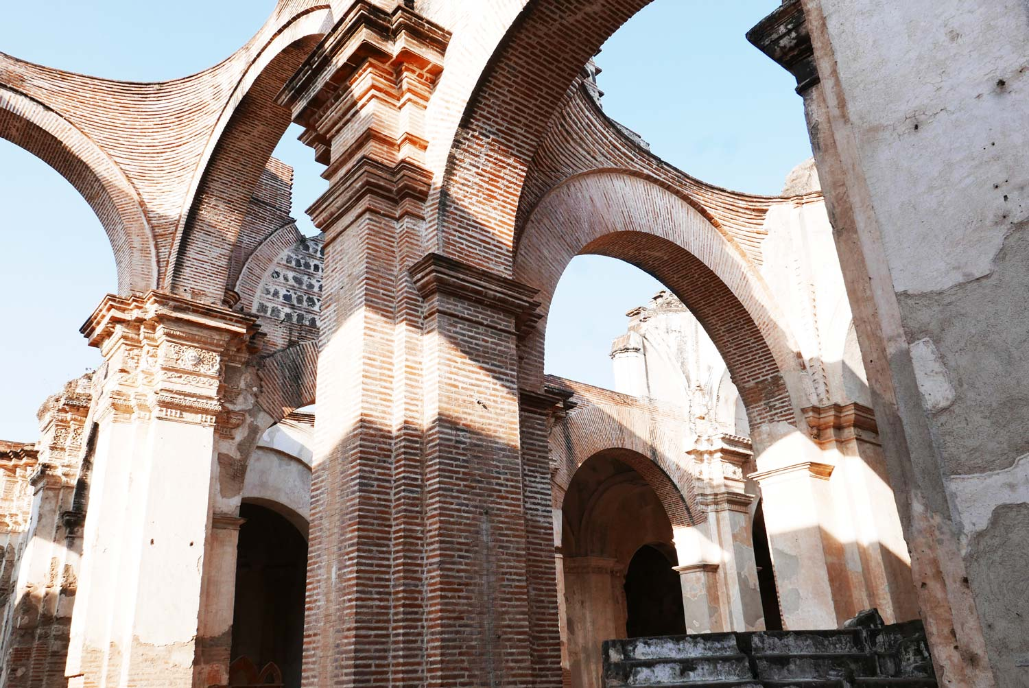Inside the partly destroyed San Jose cathedral in Antigua Guatemala