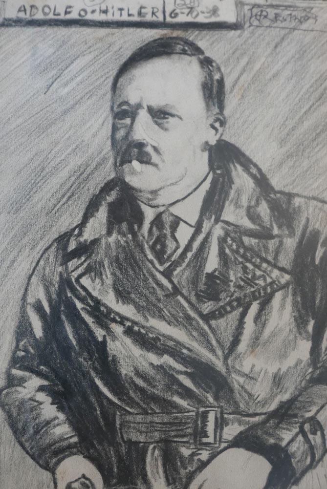 Drawing of Adolf Hitler in Santo Domingo del Cerro museum in Antigua Guatemala