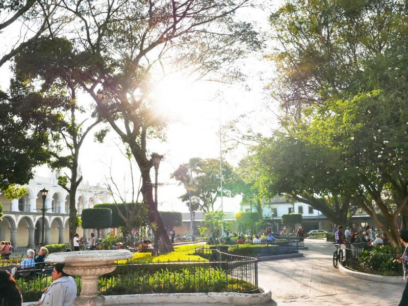 Parque Central in Antigua Guatemala just before sunset