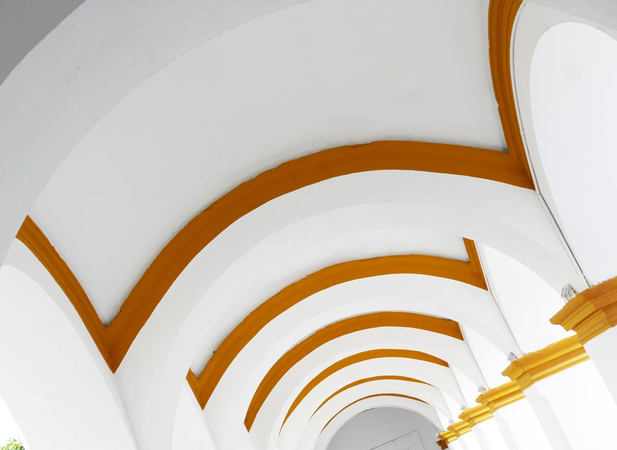 Archways in Spanish cultural center in Antigua Guatemala