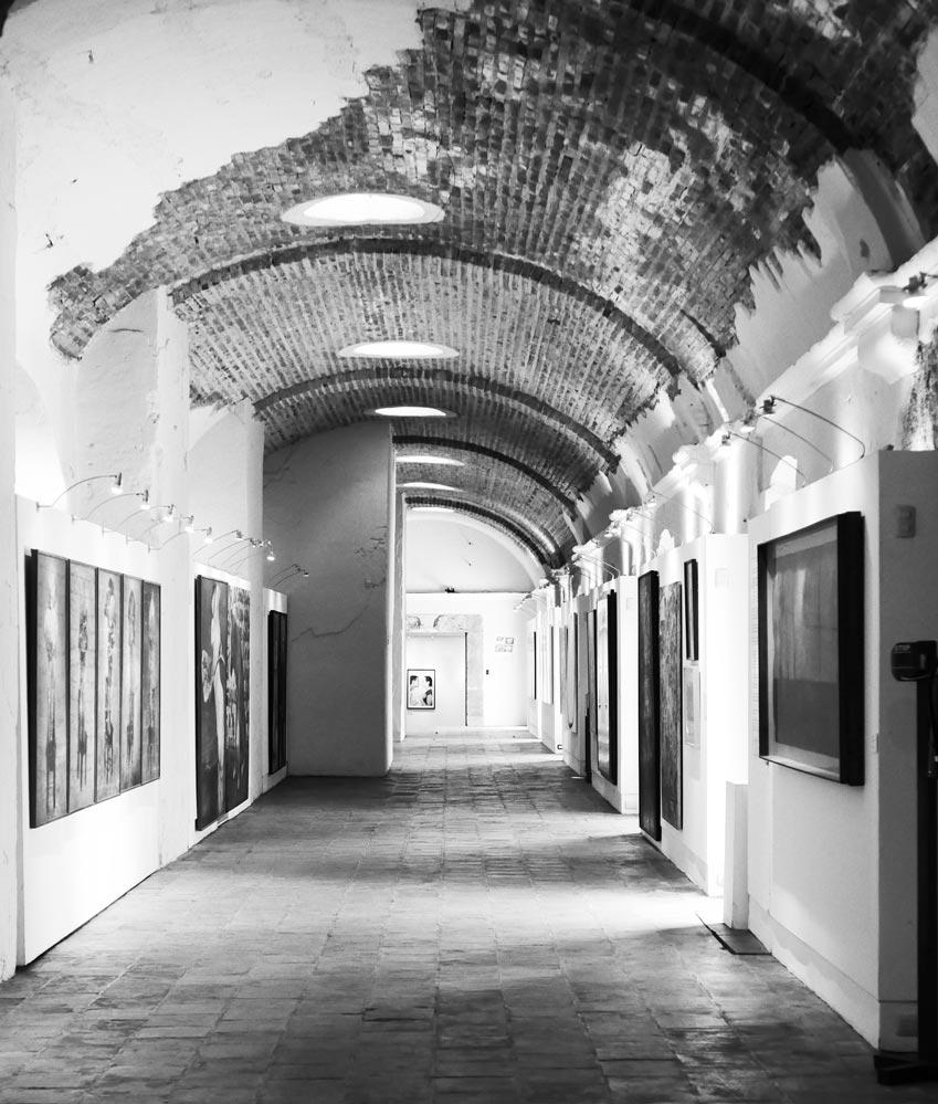 Museum corridor in Spanish cultural center in Antigua Guatemala
