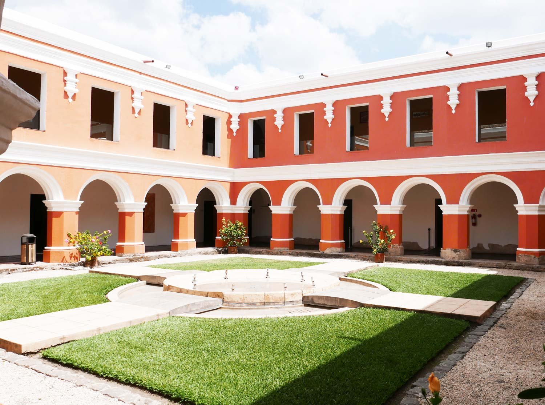 Courtyard in Spanish cultural center in Antigua Guatemala