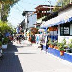 Main street in El Tunco village, El Salvador