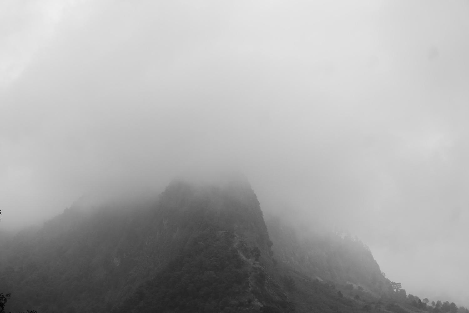 Dreamscapes. Fog surrounding the mountains on the first day of the hike to Lake Atitlan