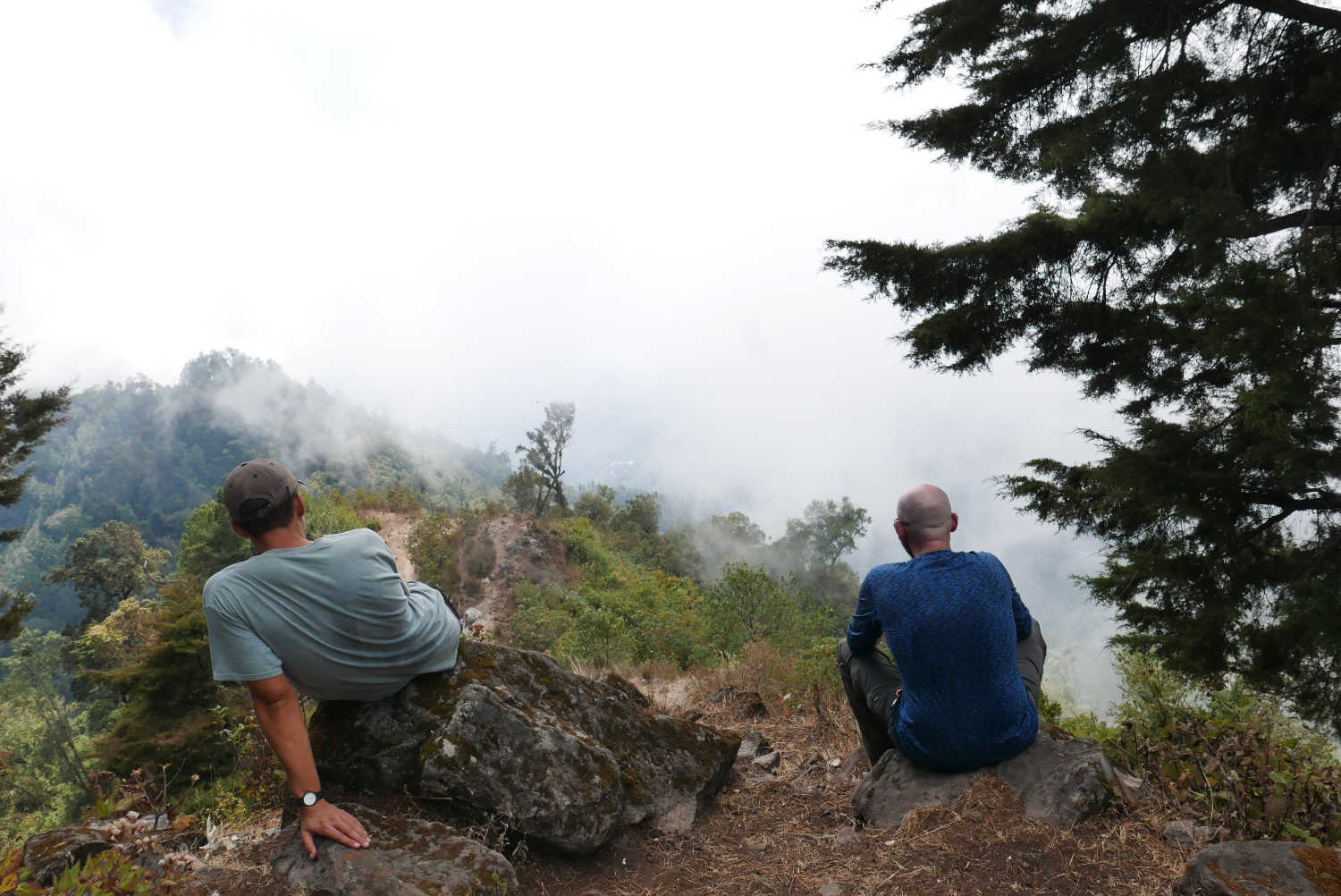 The first viewpoint, in the cloud forest, just before lunch on the first day of the hike to Lake Atitlan