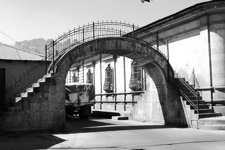 Creative footpath bridge in Xela
