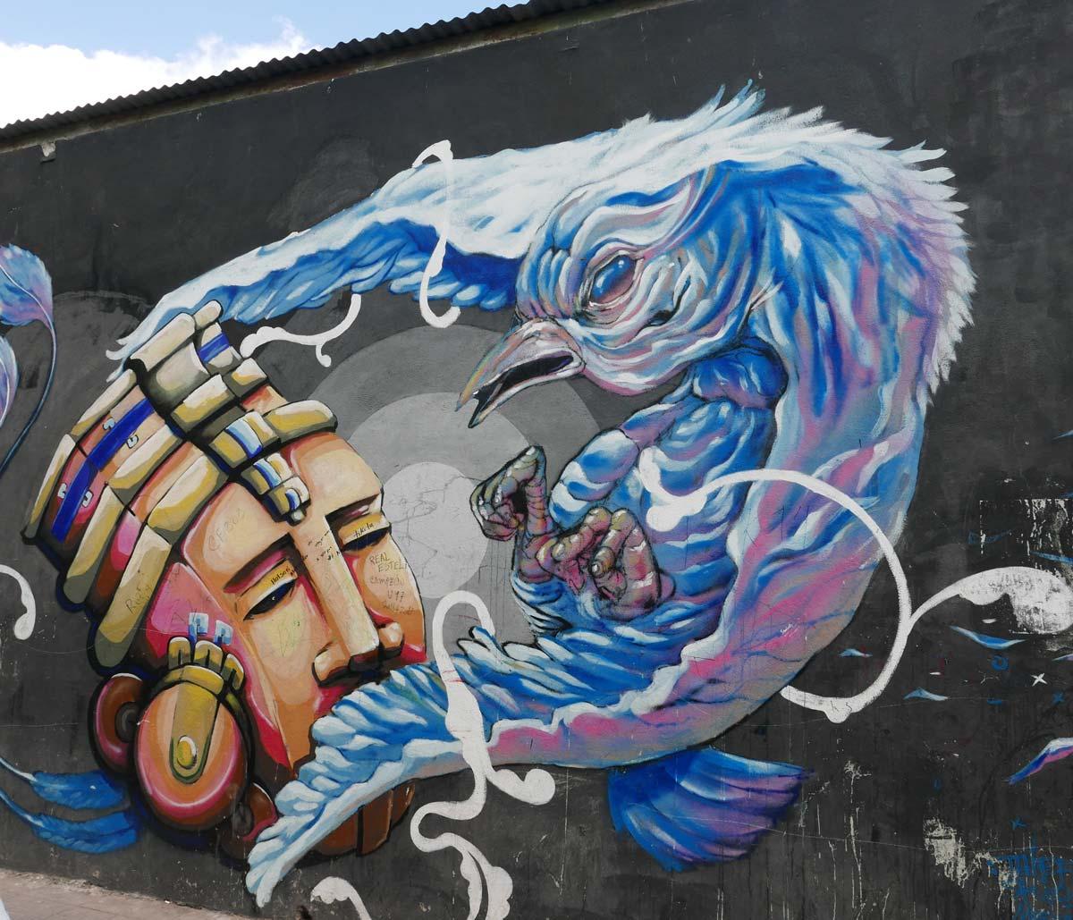 Graffiti of amulet and bird in Esteli, Nicaragua