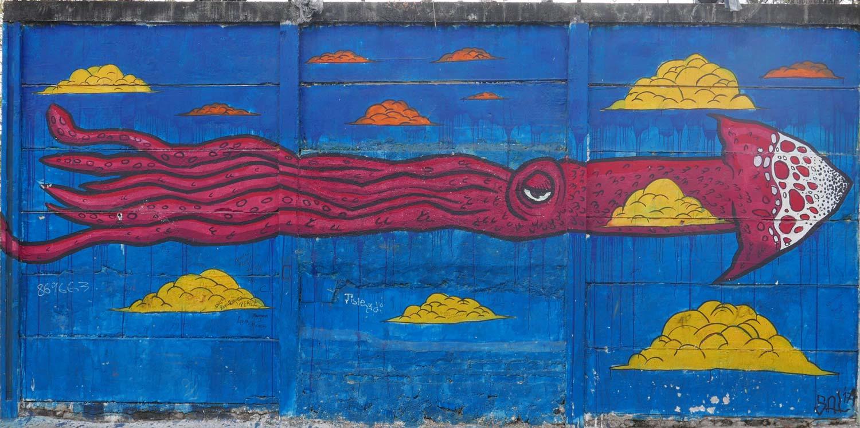 Blue fantasy graffiti in Esteli, Nicaragua