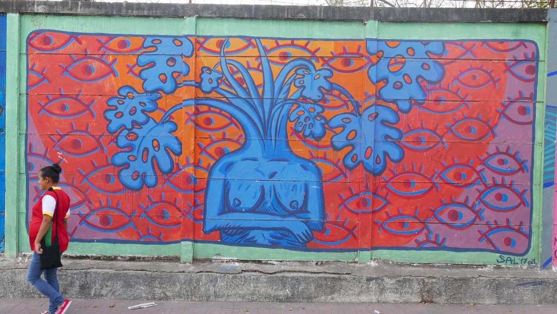 Naked woman plant graffiti in Esteli, Nicaragua