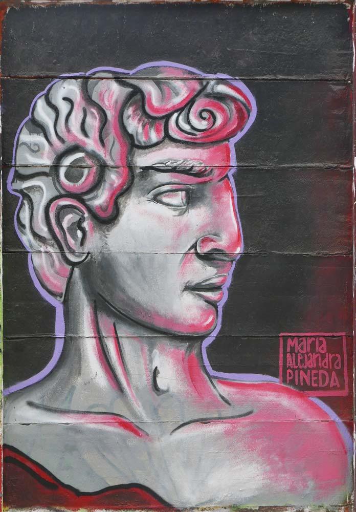 Roman figure graffiti in Esteli, Nicaragua