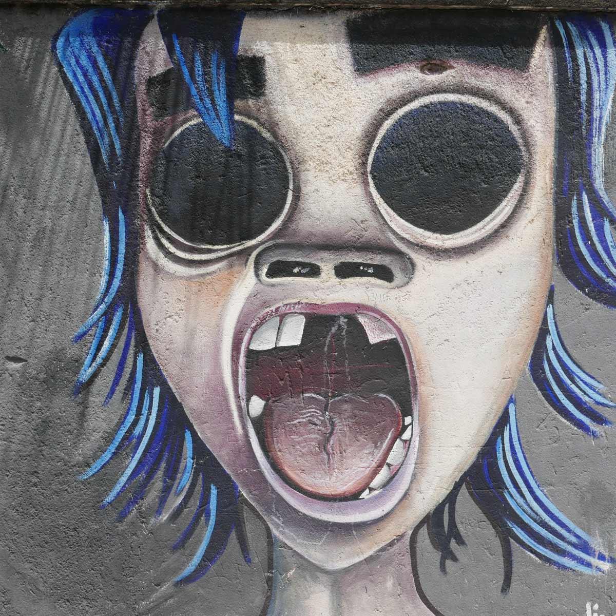 Screaming kid graffiti in Esteli, Nicaragua
