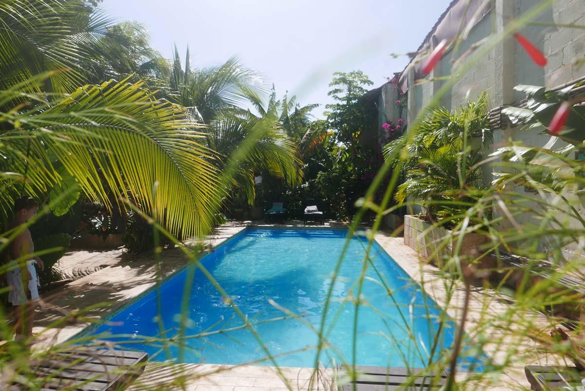 Swimming pool in Coco Calala vegan restaurant in Leon, Nicaragua