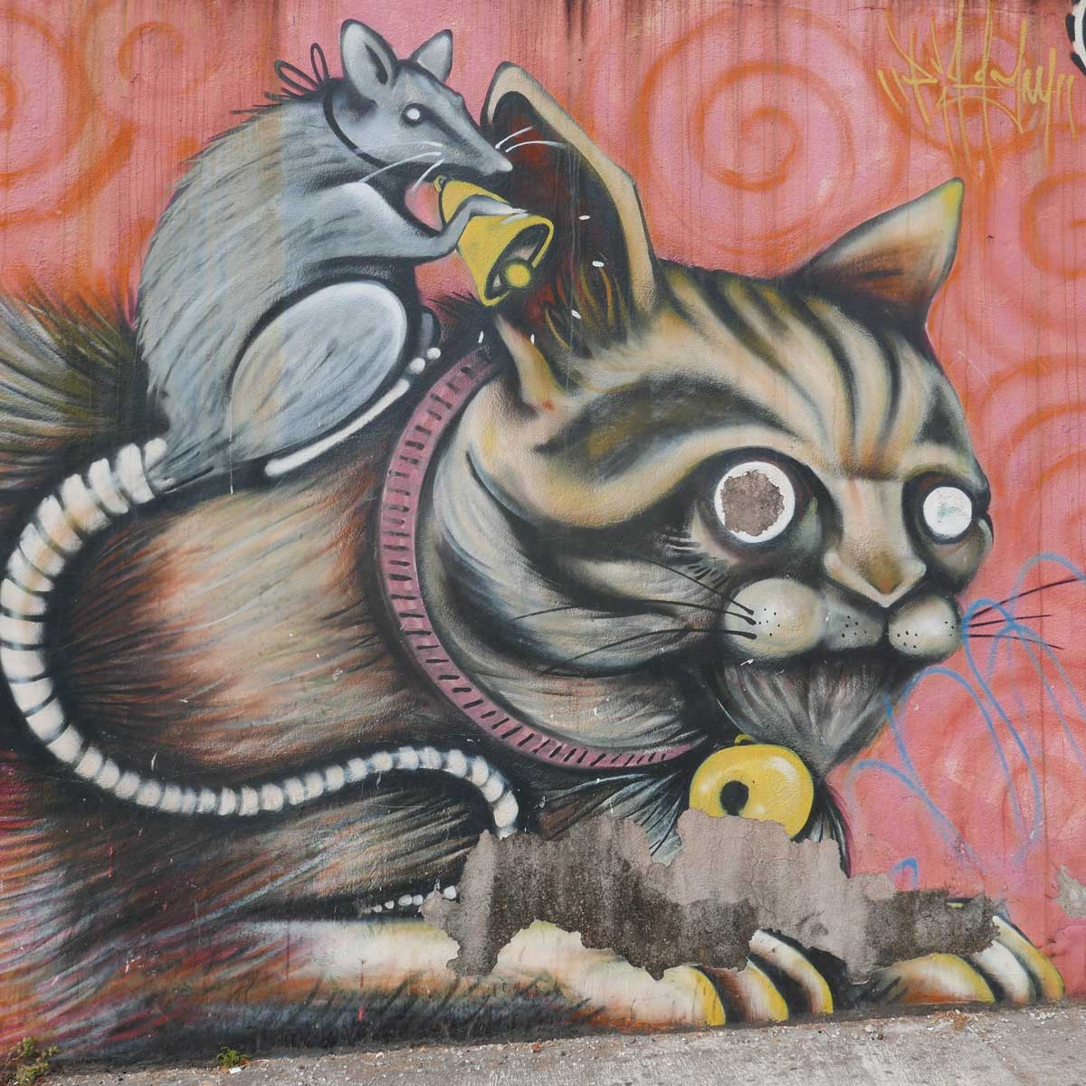Cat and mouse. Street art in San Jose, Costa Rica