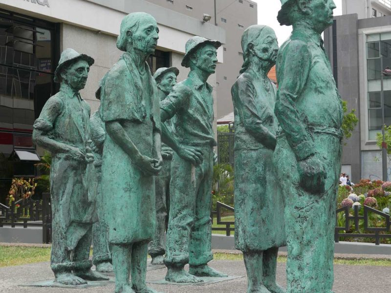The Presentes, a group of sculptures by Fernando Calvo, in front of the National Bank in San Jose, Costa Rica