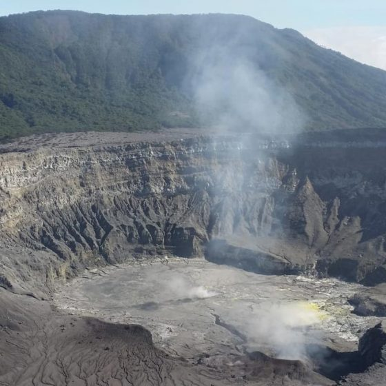 The crater of Volcan Poas in Costa Rica is one of the biggest in the world