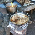 Frying fish on the street market in Granada, Nicaragua