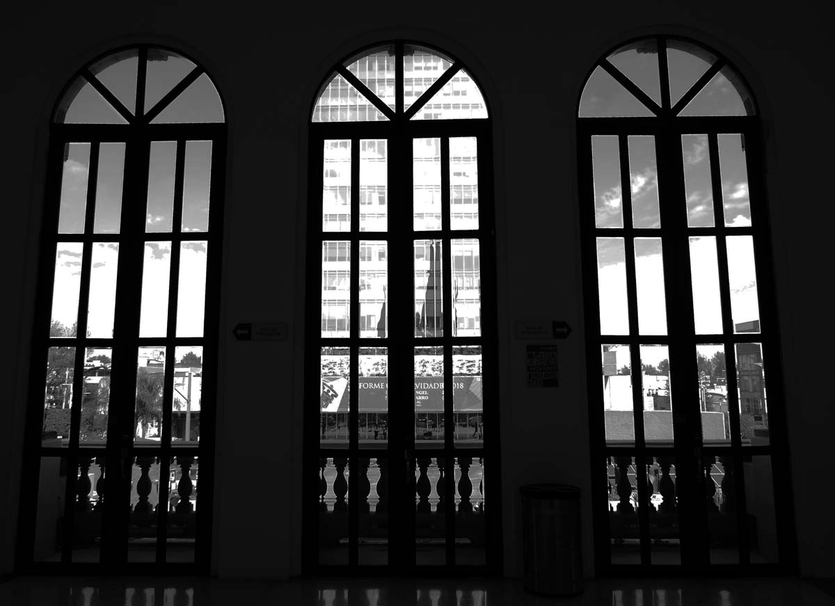 View from inside the MUSA museum towards the university of Guadalajara