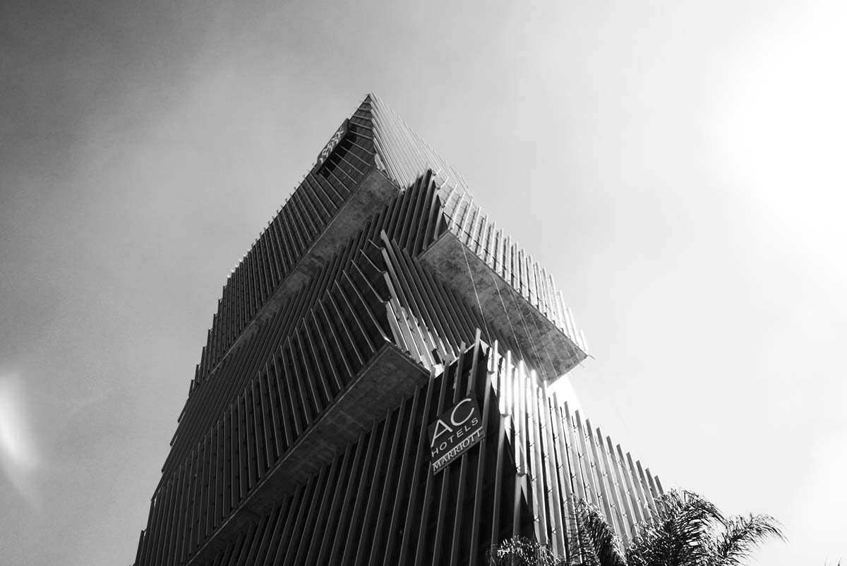 The spectacular architecture of the AC hotel towards the Zapopan district in Guadalajara