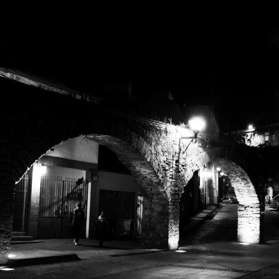Stone arches by night in Guanajuato