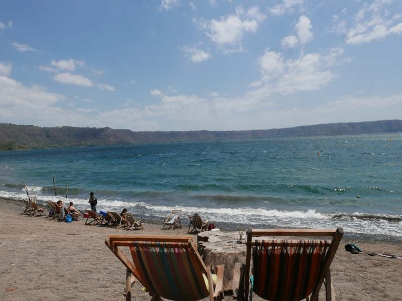Beach chairs at Laguna de Apoyo