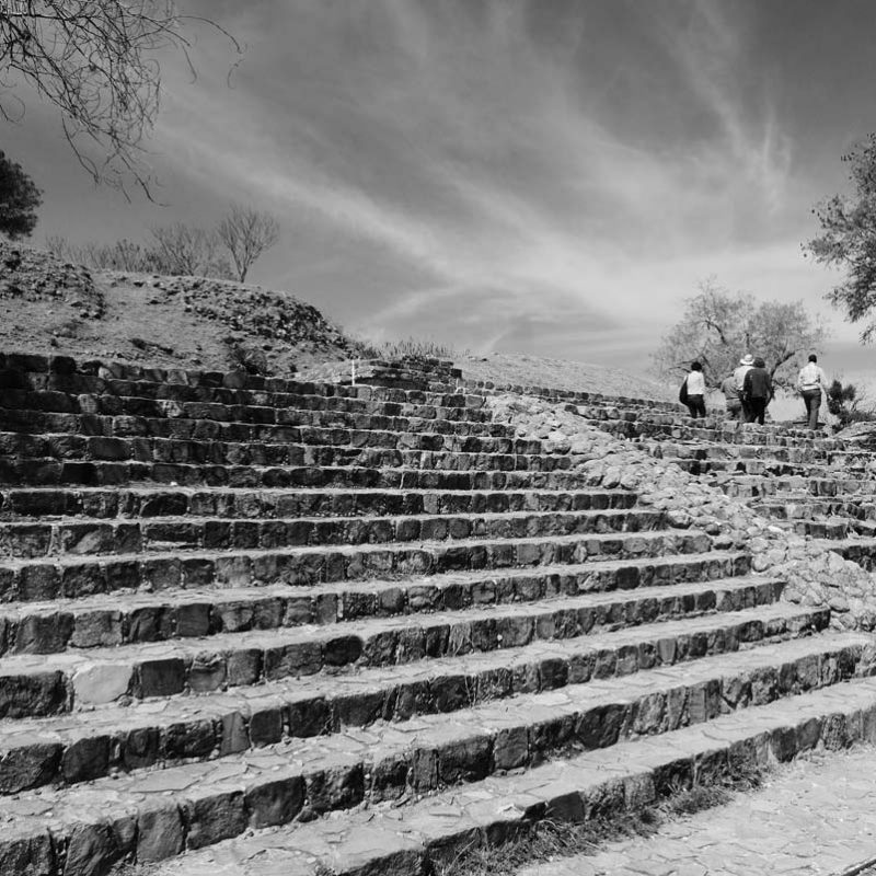 Stairs towards the Monte Alban archaelogical ruins near Oaxaca in Mexico