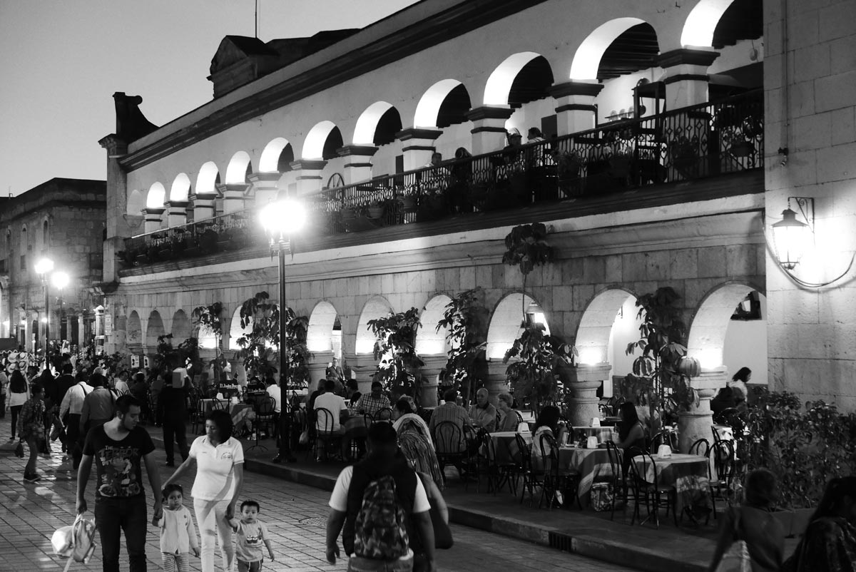 The zocalo central square in Oaxaca by night