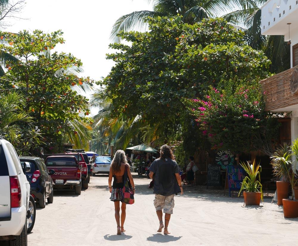 Street scene in the Punta Zicatela area in Puerto Escondido