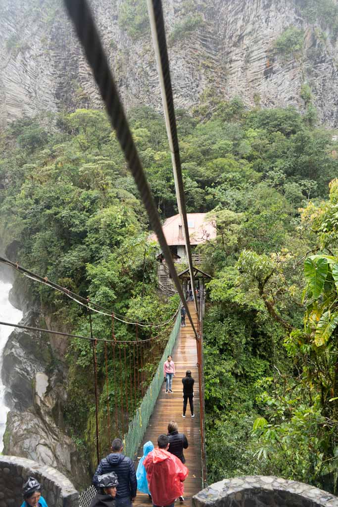 Hanging bridge in Pailon del Diablo waterfall