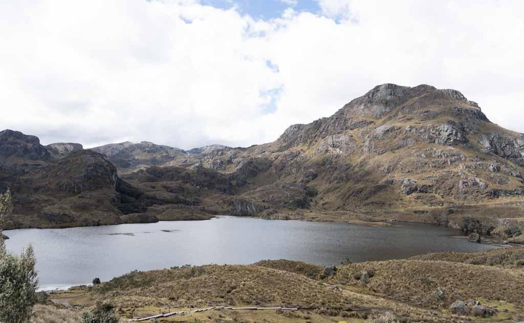 Panorama of Toreadora lake in Cajas