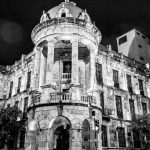 City Hall / Alcaldia of Cuenca by night in black and white