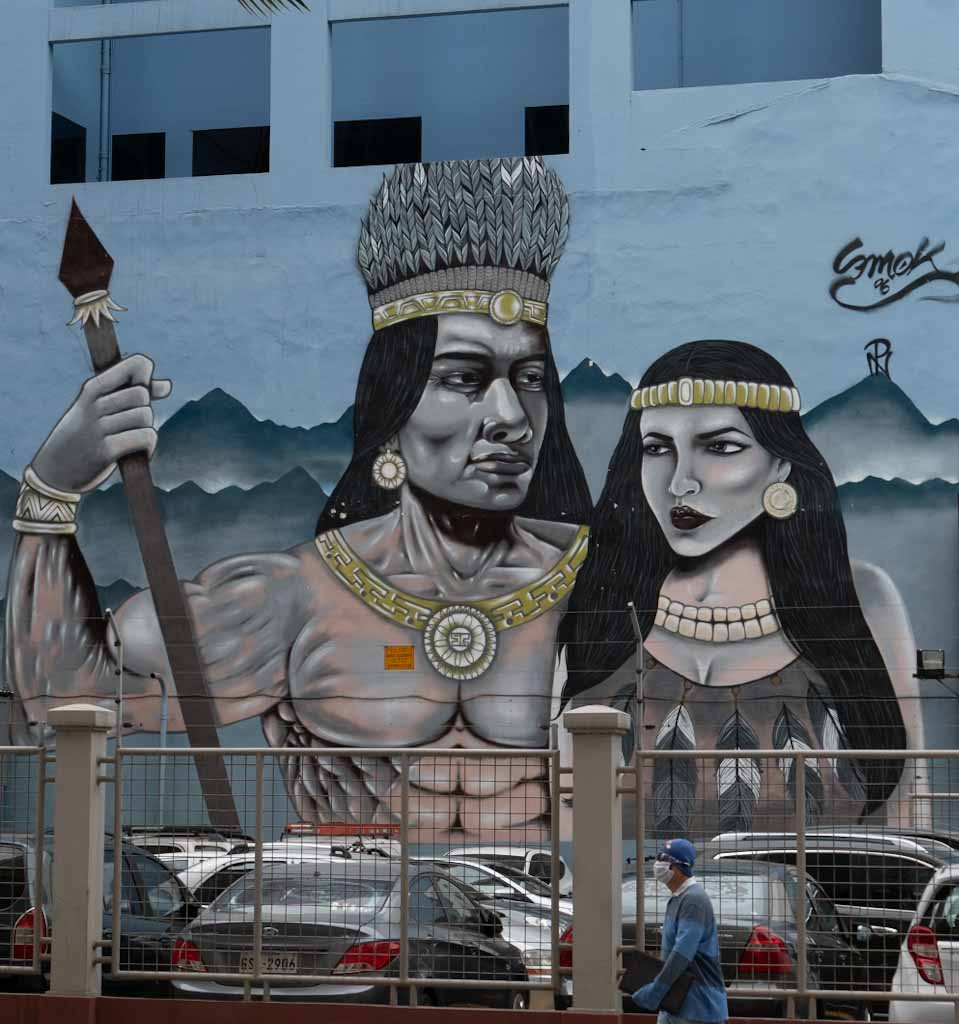 Street art indigenous people in Guayaquil