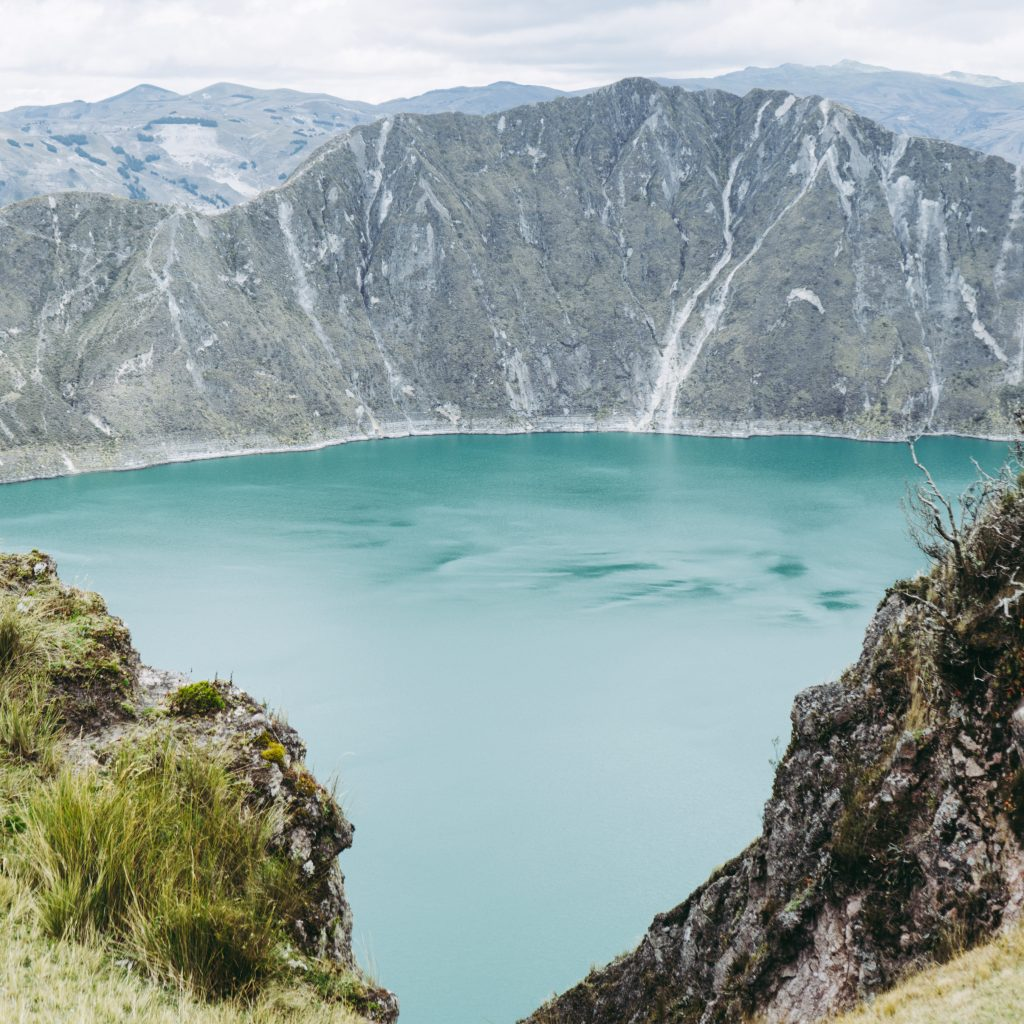 First view of Quilotoa lake