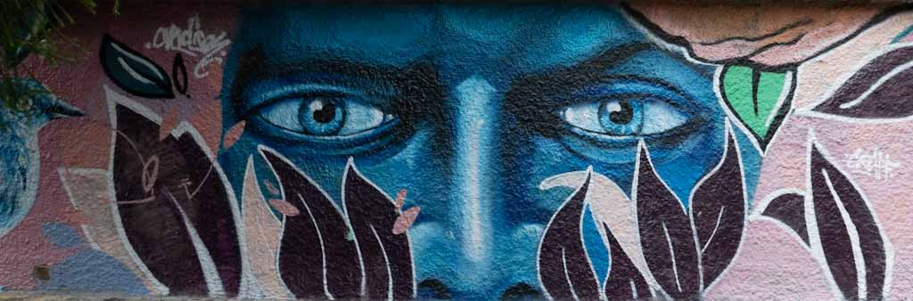 Quito street art: The blue face