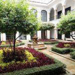 Courtyard of Botero museum in Bogota