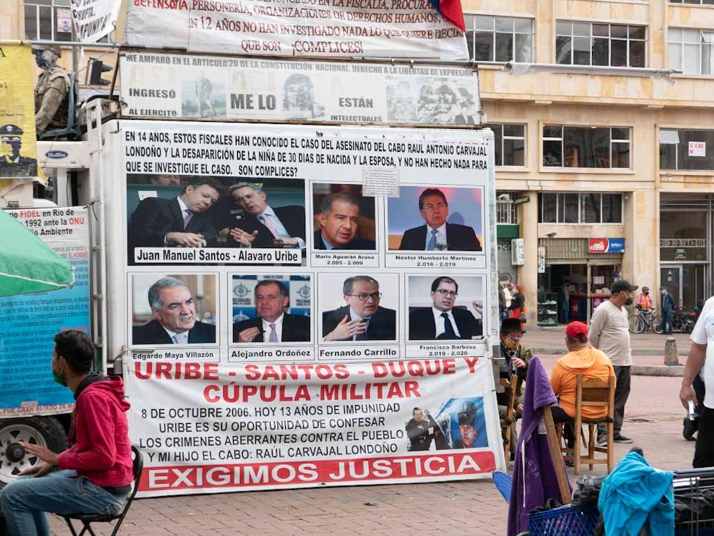 Protests against Uribe in Bogota