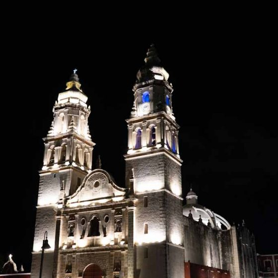 Lady of Immaculate Conception in Campeche by night