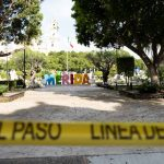 Plaza Central in Merida closed during pandemic